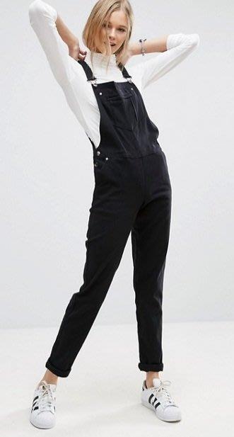 ◎美國代買◎ASOS90年代經典百搭款黑色合身吊帶褲~歐美街風~大尺碼