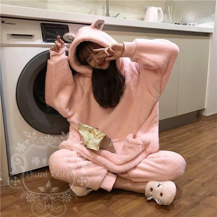 韓版居家睡衣顯瘦女神學生氣質網紅修身保暖珊瑚絨大口袋連帽可愛甜美耳朵長袖+長褲兩件套裝 優米小舖+TA19N01