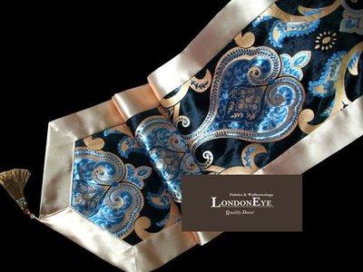 【 LondonEYE 】歐式宮廷KOSTERICA  貴族海藍X 寬邊設計X變形蟲  長桌巾/桌旗  飯店/樣品屋 訂製
