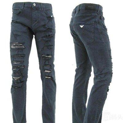 【EZ兔購】~正品美國Armani Jeans 亞曼尼 AJ  彈力 小直筒 大破損 牛仔褲 ~現貨30 32 腰 還有