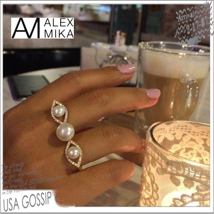 ㊣ 美國八卦小報 ㊣ ALEX MIKA 紐約設計師品牌 舒淇同款珍珠雙環戒 現貨