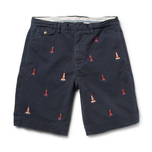 Q美國百分百【Ralph Lauren】短褲 休閒褲 五分褲 褲子 Polo 大尺碼 燈塔 滿版 RL 深藍 G494
