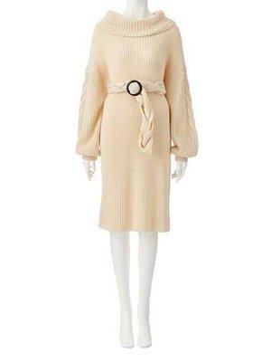 811022 日本品牌針織腰帶連身裙