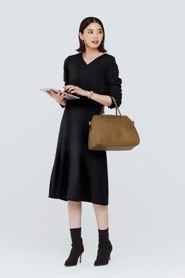 iedit 19冬 抗靜電 裏起毛 精緻簡約黑色連身裙 (現貨款特價)