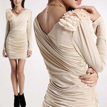 ※現貨 皺褶花瓣修身連身裙 抓皺長袖洋裝禮服-杏L【Z422192】
