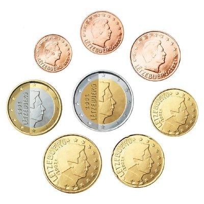 【幣】EURO 盧森堡2002歐元發行首年 1 Cent ~ 2 Euro 全新8枚一組