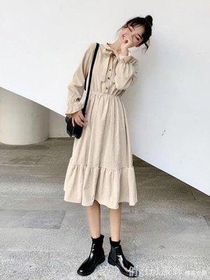 長袖洋裝 秋季韓版新款學生文藝系飄帶蝴蝶結中長款燈芯絨荷葉邊連身裙子女