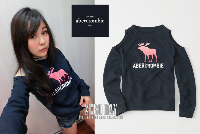 a&f真品abercrombie&fitch graphic cold shoulder sweatshirt挖肩大學T