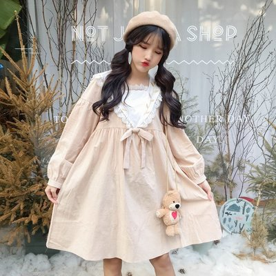 2018春裝新款女裝韓版學生寬松中長款中裙可愛裙子刺繡短袖連衣裙