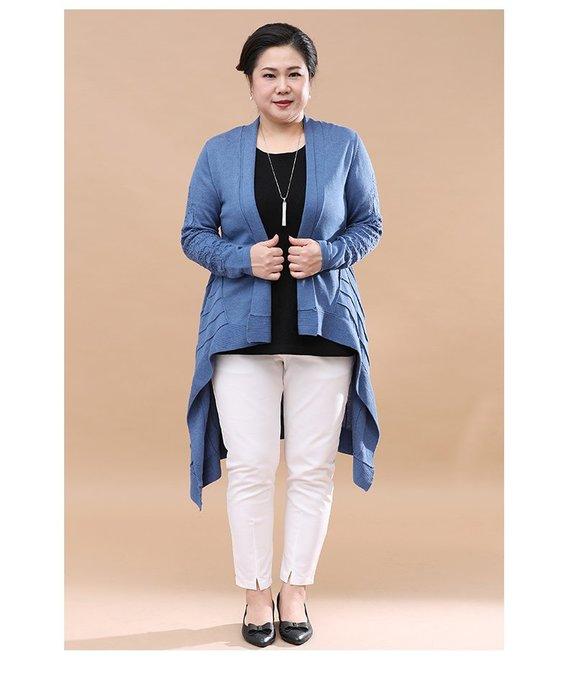 6C733 藍色中長款前短後長毛衣均碼60-100公斤秋冬婆婆裝媽媽裝風衣女裝外套大尺碼大碼超大尺碼