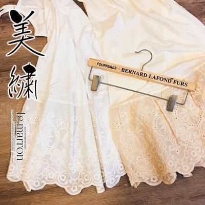 日系森女襯裙 精緻花朵刺繡蕾絲拼接棉質...