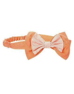 【B& G童裝】正品美國進口GYMBOREEBow Dot Soft 點點圖樣粉橘色蝴蝶結髮帶