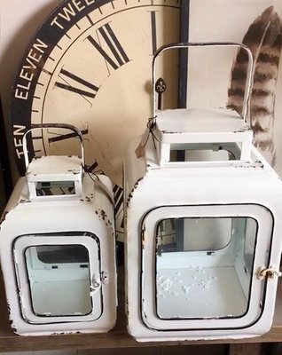 【Eze Art Deco】美國設計師傢飾,白色復古鐵制&玻璃風燈(套二) 造型風燈 生活雜貨 鐵燭台手提燭台蠟燭台