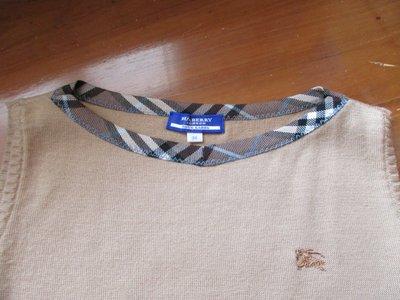 【名牌OUTLET出清☆一折起】 ~~專櫃正品Burberry  BLUE  LABEL  日本藍標格紋圓領~ 近全新