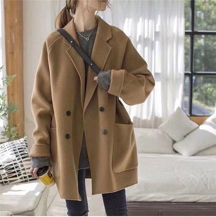 【Elfalas】韓版秋冬雙面羊絨大衣外套