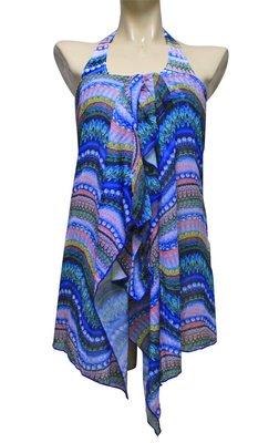 【M9422 】梅林泳裝2020新品~大女藍系圖騰紋比基尼搭罩衫三件 贈泳帽