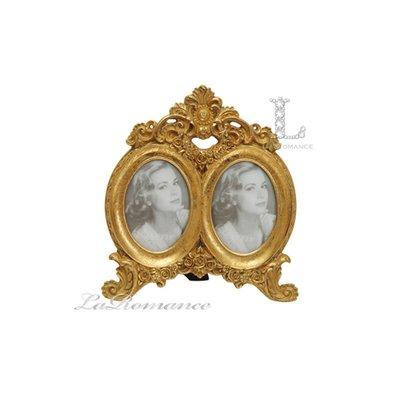 【芮洛蔓 La Romance】金色年華特價系列 - 鏤空圖騰橢圓雙組合相框