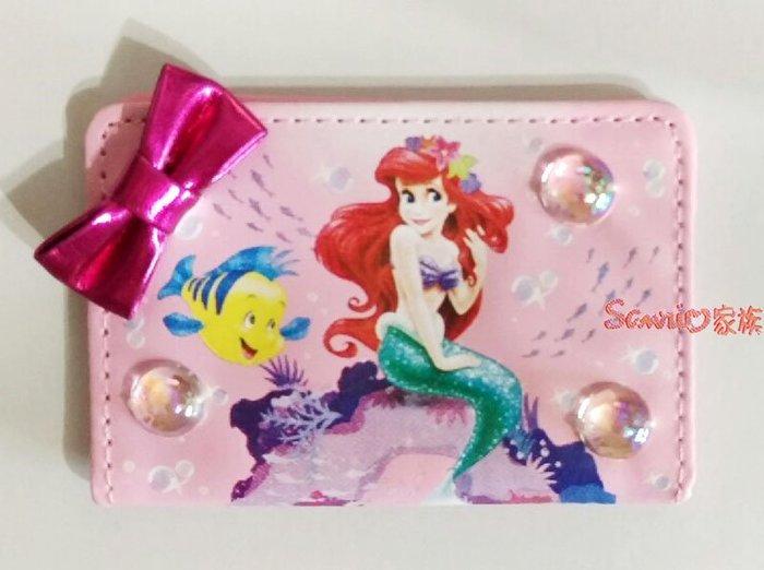 《東京家族》日本東京迪士尼Disney 限定 美人魚公主愛麗兒 蝴蝶結 隨身化妝鏡 票卡夾