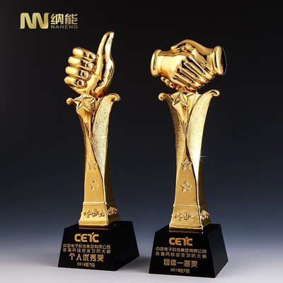 預購款-大拇指獎杯握手獎杯金屬樹脂水晶獎杯創意制作定制刻字比賽頒獎品