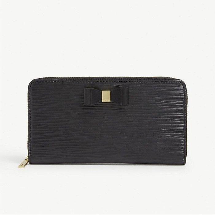 英國代購 英倫優雅輕奢品牌 Ted Baker 水波紋 牛革 拉鍊 長夾 皮夾 黑色