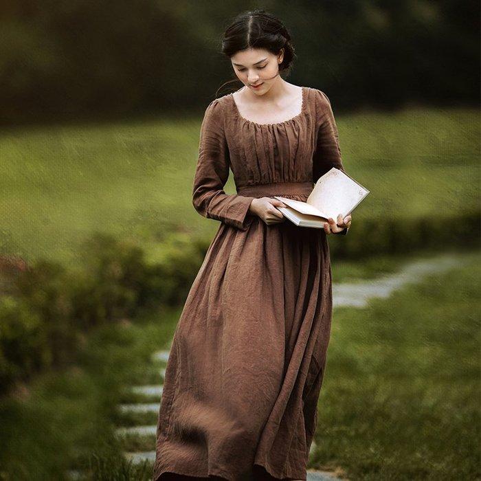 *菇涼家*维多利亚中世纪宫廷欧式复古氣質亚麻高腰长袖连衣裙秋季