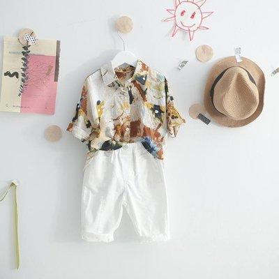 兒童襯衫男夏季3短袖4男寶寶5襯衣6薄7男童洋氣印花襯衣寬鬆潮8歲