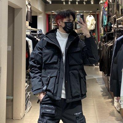 歐韓貨歐洲站潮牌羽絨服男士2021冬季新款大口袋日系設計連帽加厚外套潮