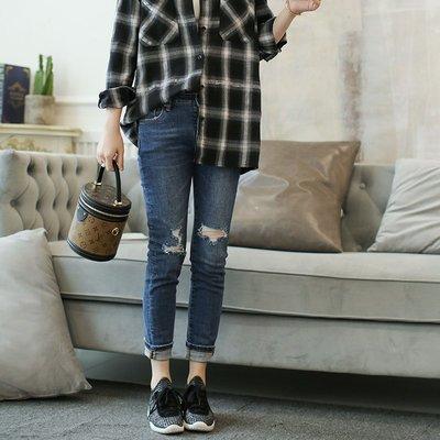 《巴黎拜金女》舒適顯瘦破洞牛仔褲女顯瘦小腳褲九分褲