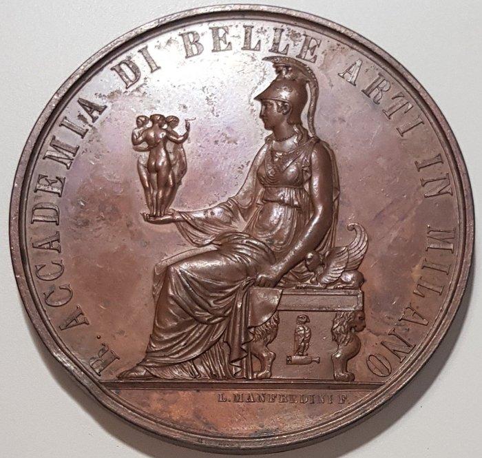 意大利銅章1894 Italy Academy Fine Arts Milan Medal by Manfredini.