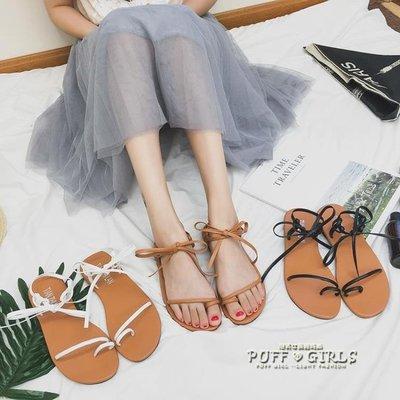 涼鞋女夏季2018新款學生韓版百搭平底綁帶鞋復古簡約繫帶羅馬鞋