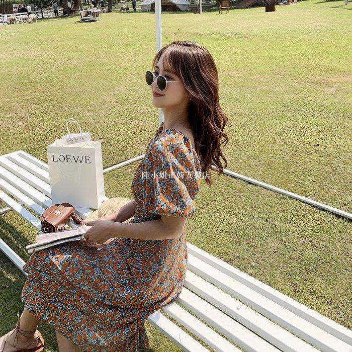 陸小姐正韓女裝店法式復古碎花連身裙2020新款女裝夏季長款收腰顯瘦氣質裙子洋裝泫雅風