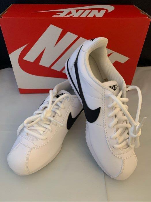JJ美國代購~Nike 耐吉 749482 102 皮革 阿甘鞋 休閒鞋 慢跑鞋 Cortez Gs 白色 黑勾