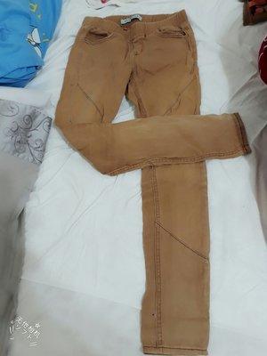 修身修飾腿型卡其色淺卡咖土黄色低調休閒長褲緊身褲直筒褲
