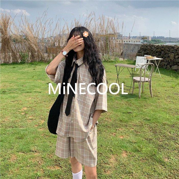 MiNE SHOP韓國 實拍 M35/28 復古格子襯衫+高腰短褲休閒兩件套 卡其色 均碼