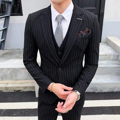 【時尚先生男裝】西服套裝男青年條紋商務正裝韓版潮流修身帥氣結婚禮服西裝三件套韓版西裝 修身西裝 整套西裝 西裝褲 西裝外套正式西裝A0027