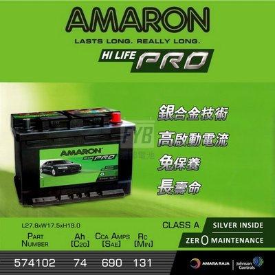 『灃郁電池』愛馬龍 Amaron 銀合金免保養 汽車電池 574102 DIN74(56618)加強版