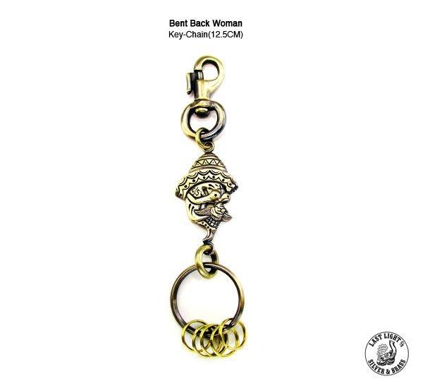 GOODFORIT / 日本品牌LAST LIGHT經典刺青仕女墨西哥帽飾黃銅鑰匙圈/12.5CM