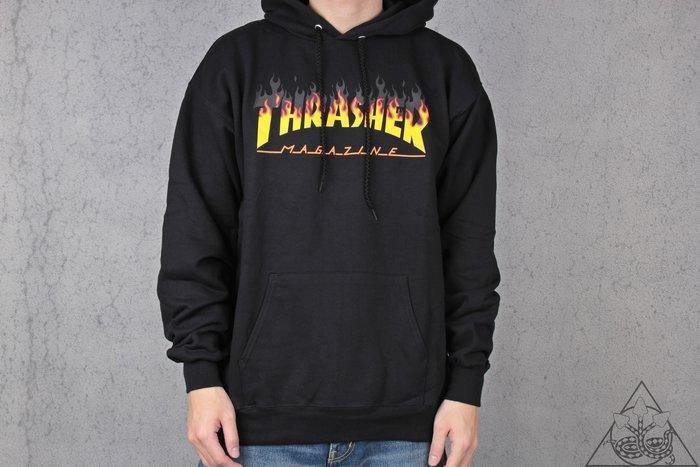 【HYDRA】Thrasher BBQ Flame Black Hoodie 火焰 刷毛 帽T【TS50】