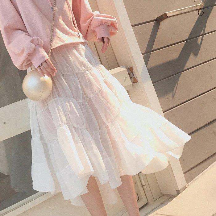 ❤Princess x Shop❤韓版新款氣質浪漫不規則多層紗裙DT8100219正韓洋裝一字領露肩性感秋季