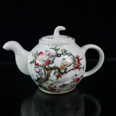 仙記銀坊清雍正年制粉彩人物九子攀桃壺古董瓷器擺件茶具仿古收藏古玩老貨