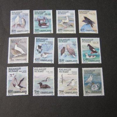 【雲品】格陵蘭Greenland 1987 birds Sc 177-188 set of 12 MNH 庫號#BP03 41880