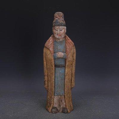 【三顧茅廬】唐代彩陶雕塑男俑古代人俑陶器 文物古瓷器古玩收藏擺件