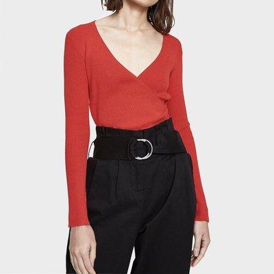 SISLEY beautiful v neck red blouse top shop zara maje sandro cos名牌簡約紅色超靚滑身質地中袖襯衫