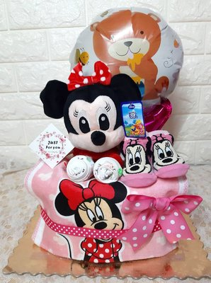 尿布蛋糕『米妮可愛手拿棒系列』 尿布塔 彌月/滿月禮 嬰兒/新生兒禮物 彌月禮盒
