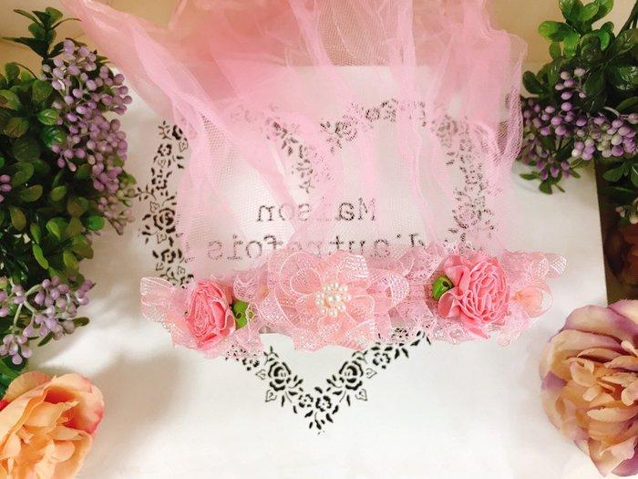 【華蕊】* D款粉嫩小花髮箍頭紗 * 髮圈 小花童 公主頭紗 甜美 可愛 蕾絲 花環