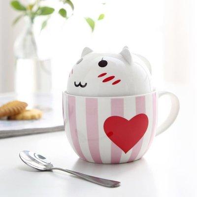 馬克杯 情侶牛奶創意杯子陶瓷馬克杯個性水杯帶蓋勺潮流可愛   全館免運