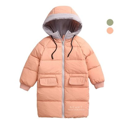 【可愛村】韓系長版鵝絨羽絨大衣 外套 羽絨衣 童裝