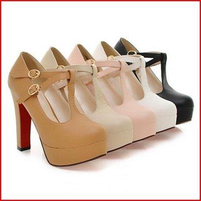 跟鞋*鞋館Shoes hall*【A4812】性感魅力顯瘦感素面T字厚底高跟鞋~5色~