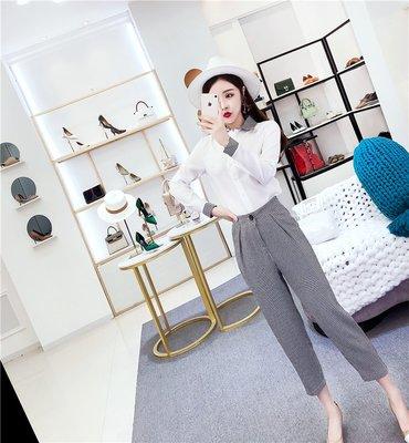 韓國風名媛格子襯衣領長袖上衣格紋小腳鉛筆褲套裝長袖褲裝 下單送襪子或聖誕帽唷
