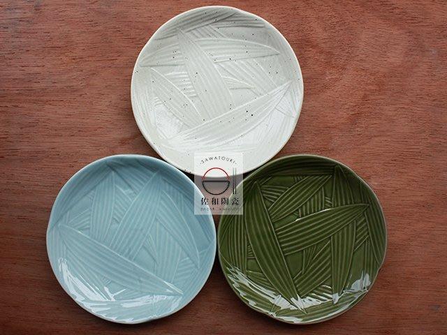 +佐和陶瓷餐具批發+【XL070728-1A.1B.1C竹葉紋5吋皿-日本製】日本製 竹葉紋 甜點盤 水果切 5吋皿